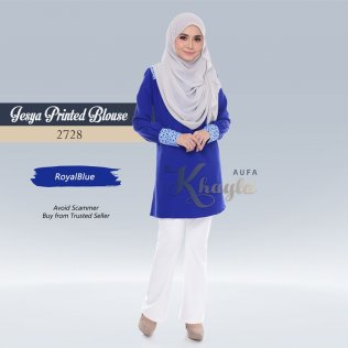 Jesya Printed Blouse 2728 (RoyalBlue)