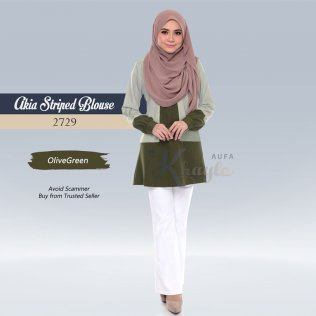 Akia Striped Blouse 2729 (OliveGreen)