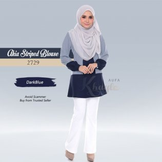 Akia Striped Blouse 2729 (DarkBlue)
