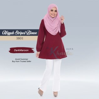 Alfiyyah Striped Blouse 3801 (DarkMaroon)