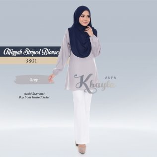 Alfiyyah Striped Blouse 3801 (Grey)