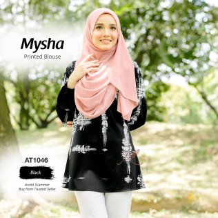 Mysha Printed Blouse AT1046 (Black)