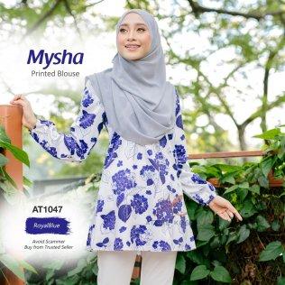 Mysha Printed Blouse AT1047 (RoyalBlue)