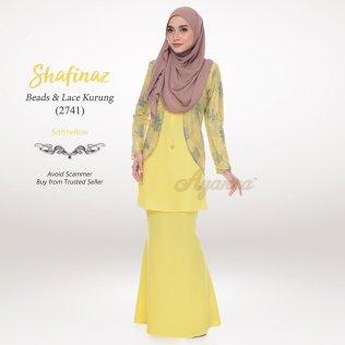 Shafinaz Beads & Lace Kurung 2741 (SoftYellow)