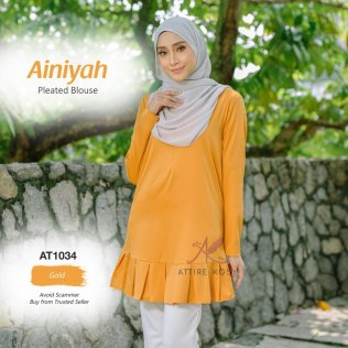 Ainiyah Pleated Blouse AT1034 (Gold)