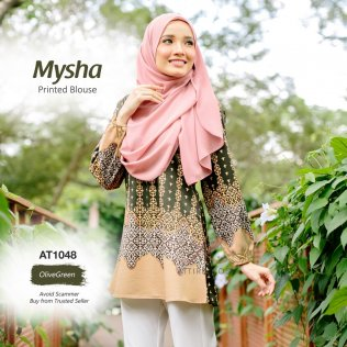 Mysha Printed Blouse AT1048 (OliveGreen)