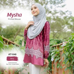 Mysha Printed Blouse AT1048 (Berry)