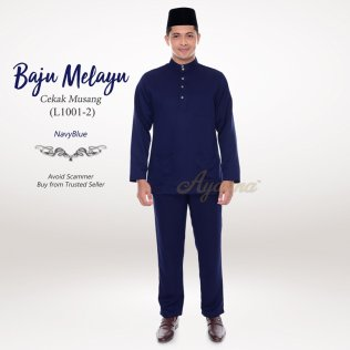 Baju Melayu Cekak Musang L1001-2 (NavyBlue)