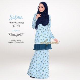 Salma Printed Kurung 2739 (BabyBlue)