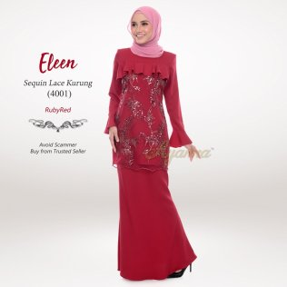 Eleen Sequin Lace Kurung 4001 (RubyRed)