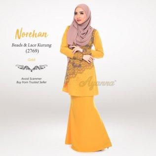 Norehan Beads & Lace Kurung 2769 (Gold)
