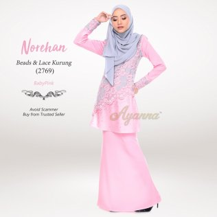 Norehan Beads & Lace Kurung 2769 (BabyPink)