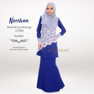 Norehan Beads & Lace Kurung 2769 (RoyalBlue)