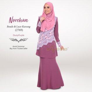 Norehan Beads & Lace Kurung 2769 (DustyPurple)