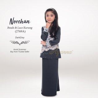Norehan Beads & Lace Kurung 2769A (DarkGrey)