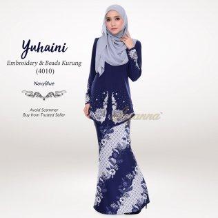 Yuhaini Embroidery & Beads Kurung 4010 (NavyBlue)