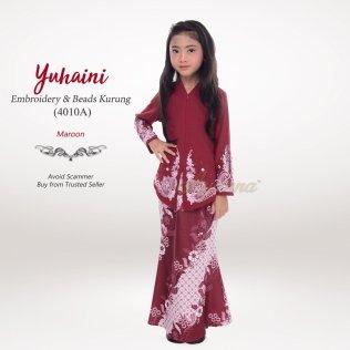 Yuhaini Embroidery & Beads Kurung 4010A (Maroon)