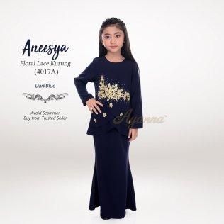 Aneesya Floral Lace Kurung 4017A (DarkBlue)