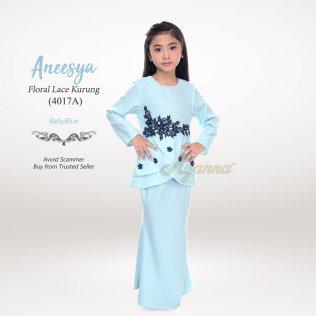Aneesya Floral Lace Kurung 4017A (BabyBlue)