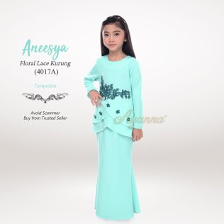 Aneesya Floral Lace Kurung 4017A (Turquoise)