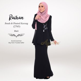 Raihan Beads & Pleated Kurung 2765 (Black)