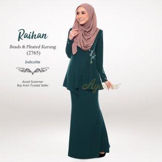 Raihan Beads & Pleated Kurung 2765 (Indicolite)