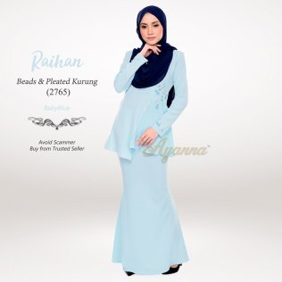 Raihan Beads & Pleated Kurung 2765 (BabyBlue)