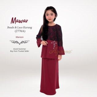 Mawar Beads & Lace Kurung 2776A (Maroon)
