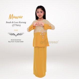 Mawar Beads & Lace Kurung 2776A (Gold)