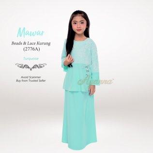 Mawar Beads & Lace Kurung 2776A (Turquoise)