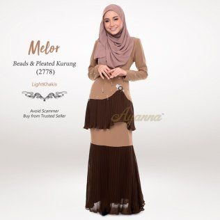 Melor Beads & Pleated Kurung 2778 (LightKhakis)