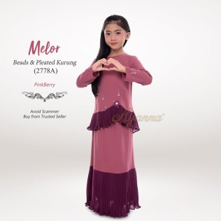 Melor Beads & Pleated Kurung 2778A (PinkBerry)