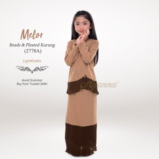 Melor Beads & Pleated Kurung 2778A (LightKhakis)