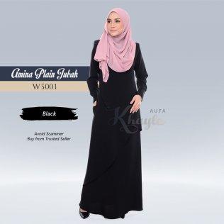 Amina Plain Jubah W5001 (Black)