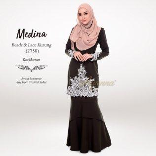 Medina Beads & Lace Kurung 2758 (DarkBrown)