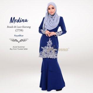 Medina Beads & Lace Kurung 2758 (RoyalBlue)