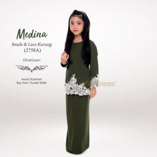 Medina Beads & Lace Kurung 2758A (OliveGreen)
